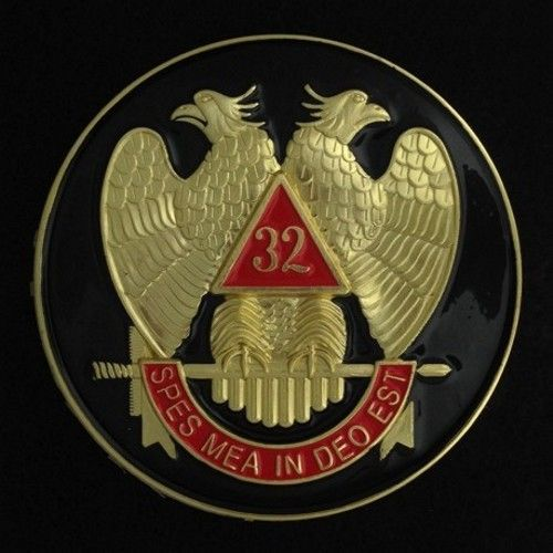 Scottish Rite 32nd Degree Auto Emblem Black