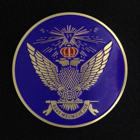 Scottish Rite 33rd Degree Auto Emblem Wings Up Purple