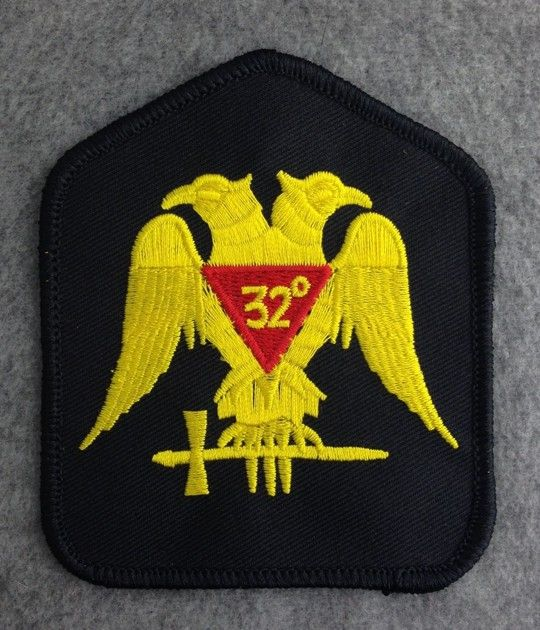 Scottish Rite 32nd Degree Embroidered Patch Black