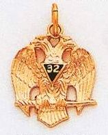 Scottish Rite 32nd Degree Eagle Pendant Gold New