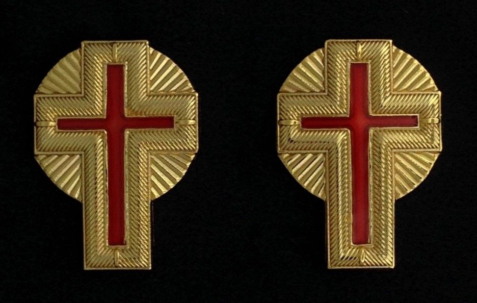 Past Commander Metal Collar or Sleeve Cross w/Rays (Pair)