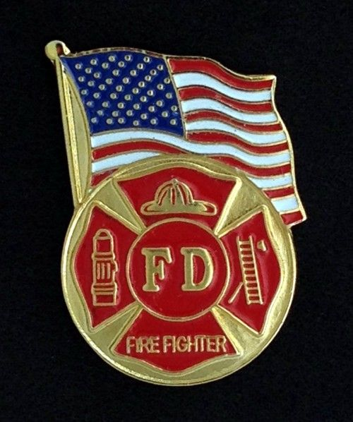 US Flag Fire Department Lapel Pin New