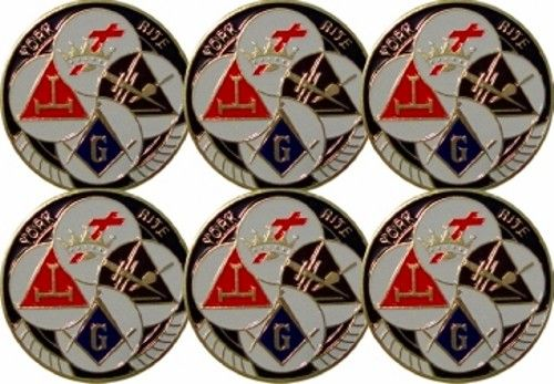 6 York Rite Car Auto Emblems