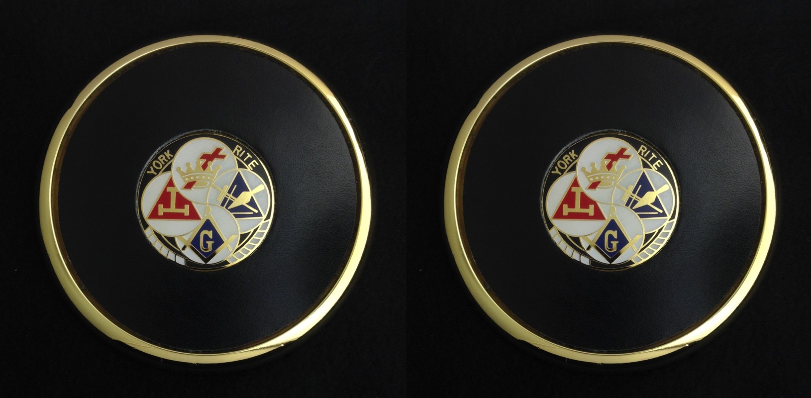 York Rite Coaster Set (Two) with Die Struck Medallion Insert