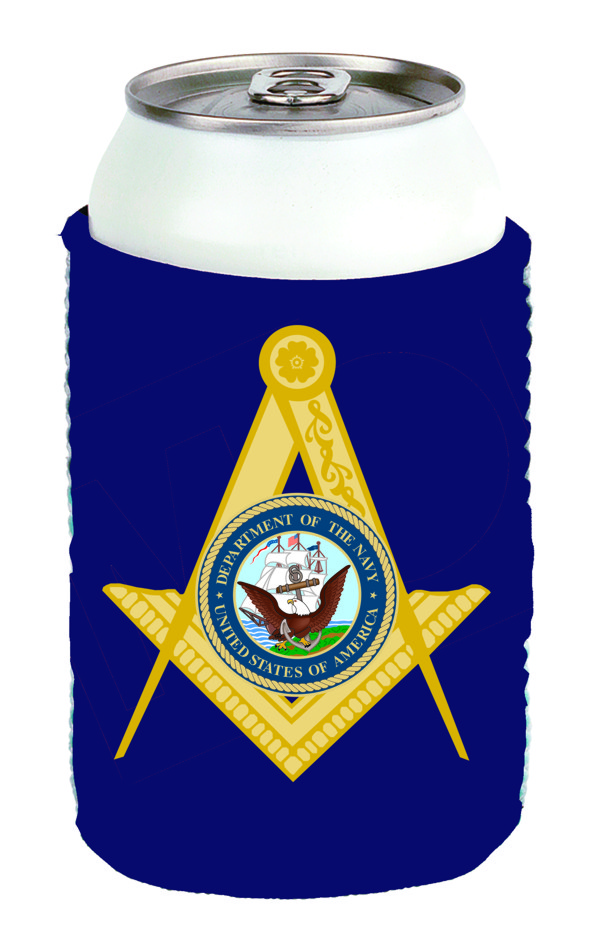 Masonic US Navy Can Cooler New
