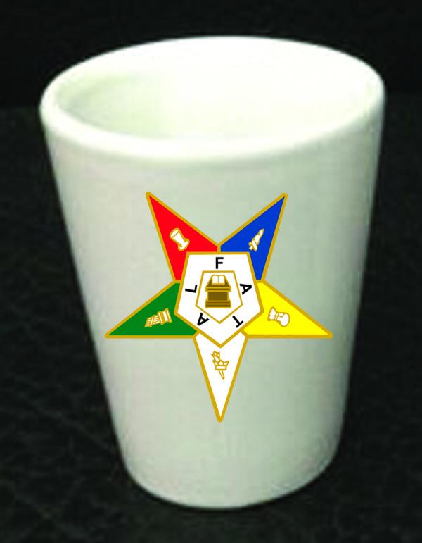 Order of Eastern Star Ceramic Shot Glass New