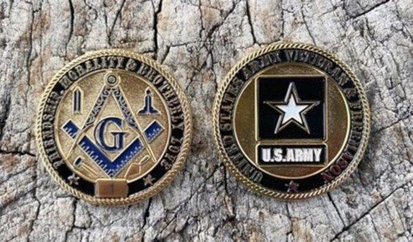 Masonic US Army Veteran Challenge Coin