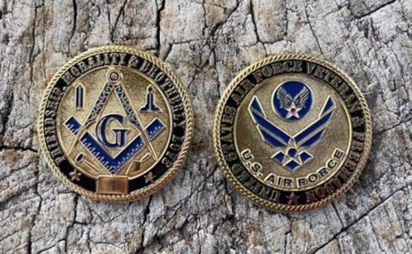 Masonic US Air Force Veteran Challenge Coin
