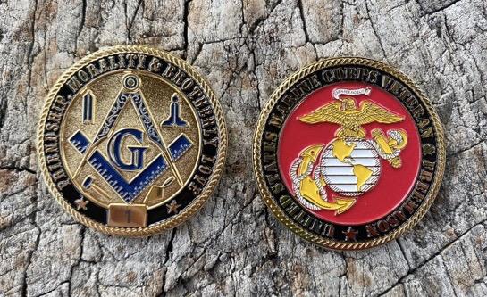 Masonic US Marine Corps Veteran Challenge Coin
