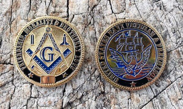Masonic US Navy Veteran Challenge Coin
